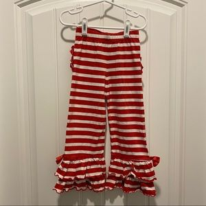 Red and white Ruffle Butts pants